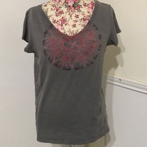 Lucky Brand Gray Vneck Ohm Print T-shirt, Medium
